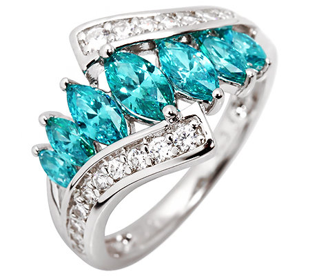 DIAMONIQUE® CARIBBEAN BLUE 27 Steine =1,74ct. Cocktail-Ring Silber 925,rhodiniert
