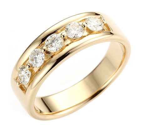 5 Brillanten zus.ca.0,60ct lg.Weiß/lupenrein Memoire-Ring Gold 585