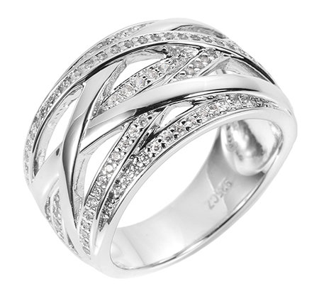 DIAMONIQUE® EPIPHANY = 0,53ct Croisé-Ring Silber 925
