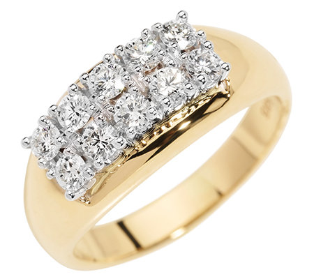 10 Brillanten zus.ca.0,75ct. Weiß/lupenrein Cockail-Ring Gold 585