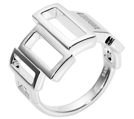 PAOLA VALENTINI Ring Rechtecke poliert Silber 925
