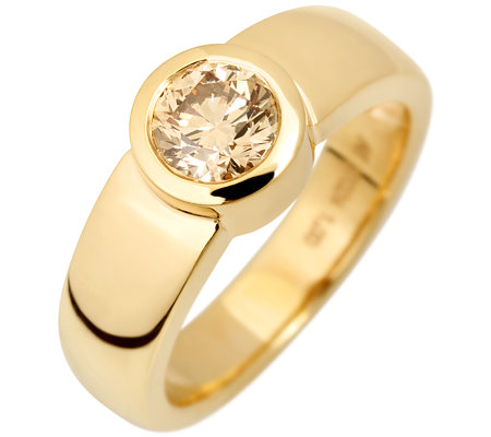 1 Brillant ca.1,00ct natur braun/SI2 Solitär-Ring Gold 585