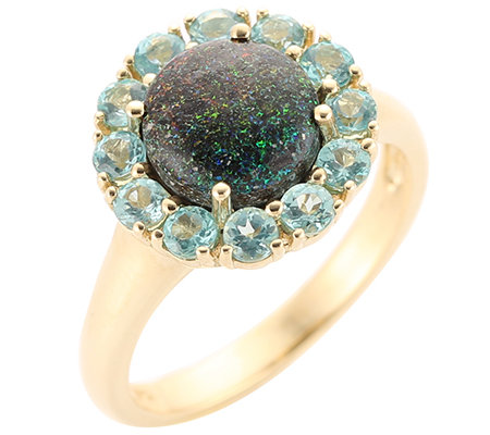 Australischer Matrix-Opal 2,20ct. Apatit 0,80ct. Entourage-Ring Gold 375