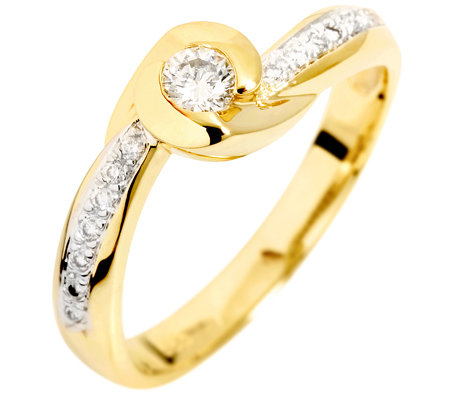 15 Brillanten zus.ca.0,20ct. Weiß/P1 Ring Gold 585