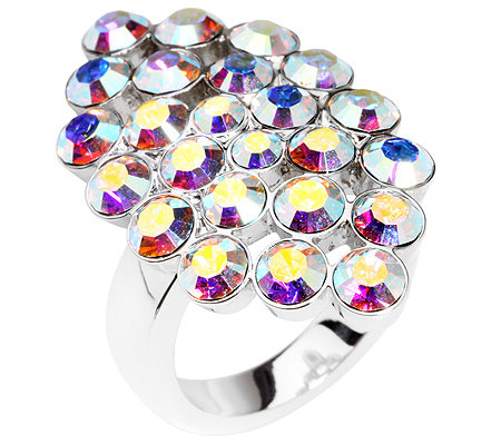 LONDON COLLECTION Cocktail-Ring 'Haute-Couture' Aurora Borealis Kristalle