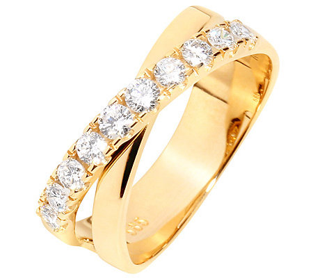 10 Brillanten zus.ca.0,50ct. Weiß/P1 Croisé-Ring Gold 585