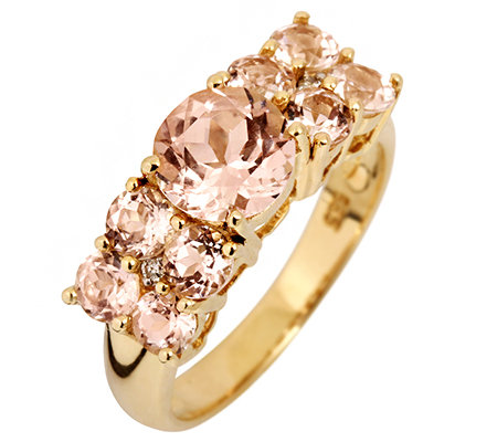 Morganit AAA/2,50ct 2 Brill.0,01ct Rivière-Ring Gold 585