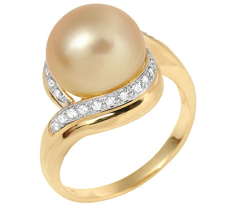 PERLFEKT Südseeperle 11-12mm 26 Brillanten 0,17ct. Ring Gold 585