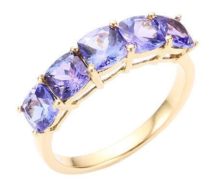 1st Class Tansanit AAA/2,50ct Kissenschliff Rivière-Ring Gold 750