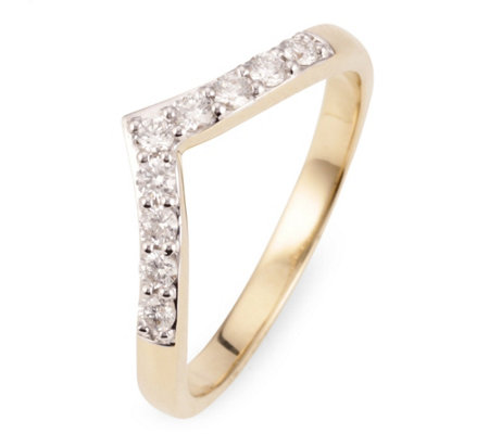 V-Ring 9 Brillanten zus. ca. 0,25ct Weiß/SI Gold 585