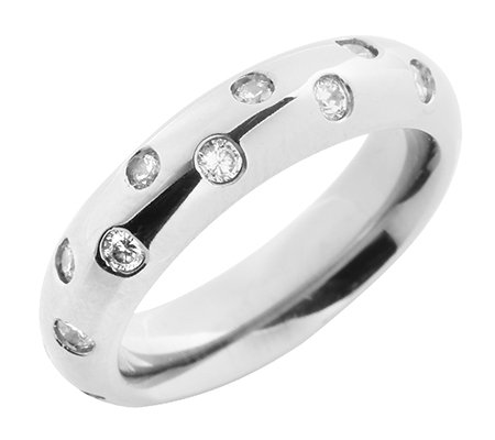 DIAMONIQUE® TITAN min.22Steine =0,66ct. Eternity-Ring poliert