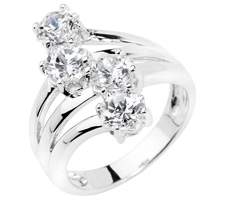 DIAMONIQUE® Cocktail-Ring 4 Steine=2,64ct. Jubilee-Schliff Silber 925,rhodiniert