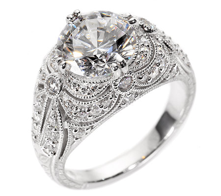 DIAMONIQUE® VINTAGE = 3,65ct Cocktail-Ring Silber rhodiniert