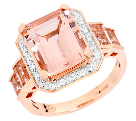 Morganit AAA/4,30ct 22 Brill.0,07ct Cocktail-Ring Roségold 750