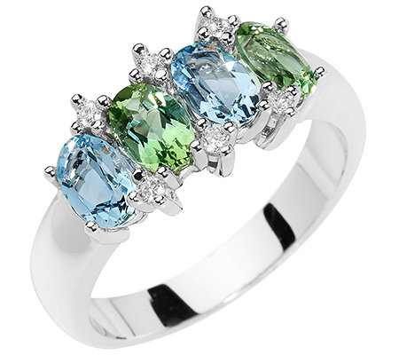 Turmalin Aquamarin 6 Brillanten 0,10ct. Ring Gold 585