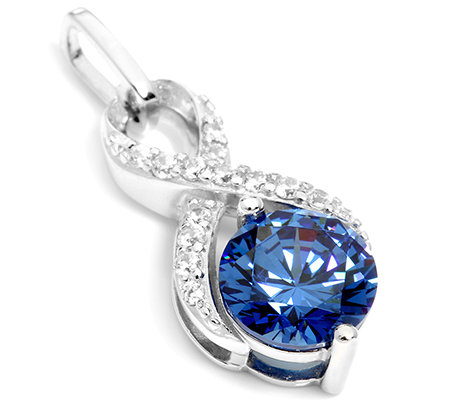 DIAMONIQUE® ROYAL BLUE = 2,14ct Anhänger Silber rhodiniert