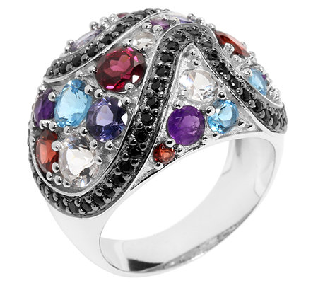 Edelsteine multicolor 4,34ct. rund facettiert Cocktail-Ring Silber 925,rhod