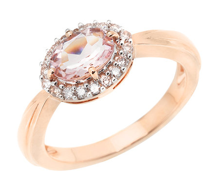 Morganit AAA/0,67ct 18 Brill.0,18ct Entourage-Ring Roségold 585