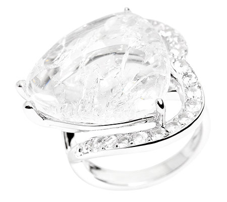 MARIANNE HARTL Crush Crystal Weißtopase 0,90ct. Cocktail-Ring Silber 925,rhodin
