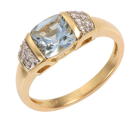 Cumaru Aquamarin Kissenschliff 1,15ct. 10 Brillanten 0,10ct. Ring Gold 585