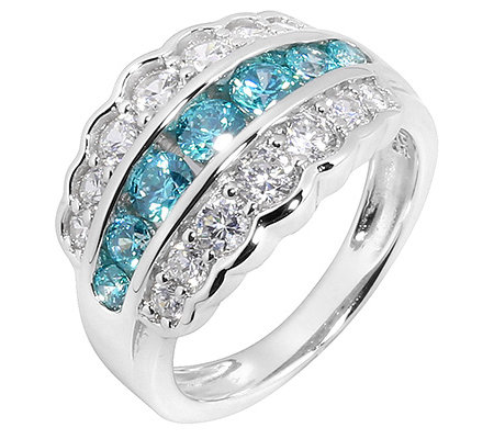 DIAMONIQUE® CARIBBEAN BLUE 21 Steine =1,48ct. Cocktail-Ring Silber 925,rhod