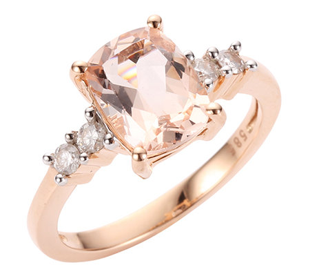 Morganit AAA/1,28ct 4 Brill.0,20ct Ring Roségold 585