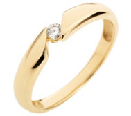 FIRST DIAMOND Solitär-Ring 1 Brillant ca. 0,07ct get. Weiß/lupenrein Gold 375