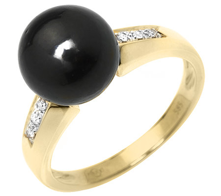 PERLFEKT Tahitizuchtperle 6 Brill.0,04ct Ring Gold 585