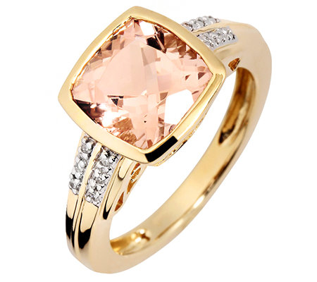 Morganit 2,75ct. Zargenfassung 12 Brillanten 0,02ct. Ring Gelbgold 585