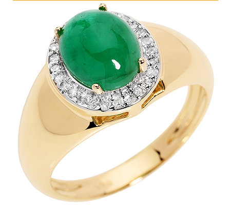 Smaragd 1,95ct. oval Cabochon Diamanten 0,13ct. Entourage-Ring 585 Gold