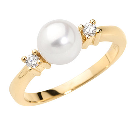 AKOYA Zuchtperle 7-7,5mm 2 Brillanten 0,10ct. Ring Gold 585