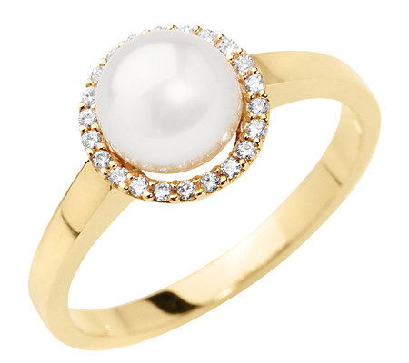 AKOYA Zuchtperle 7-7,5mm 22 Brillanten 0,10ct. Entourage-Ring Gold 585