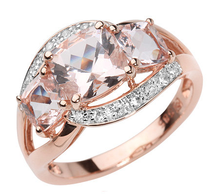 Morganit 2,10ct. Kissenschliff 14 Brillanten 0,10ct. Ring Roségold 750
