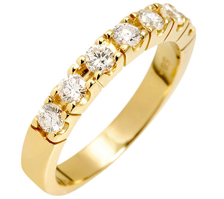 7 Brillanten zus.ca.0,60ct. Weiß/P1 Halb-Eternity-Ring Gold 585