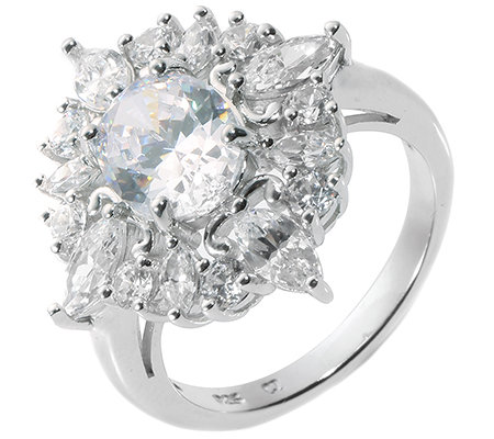 DIAMONIQUE® = 3,80ct Schliffmix Cocktail-Ring Silber rhodiniert