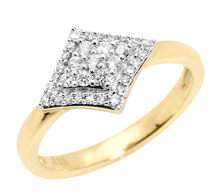 FIRST DIAMOND 33 Diamanten zus.ca.0,25ct. Rauten-Ring Gold 333