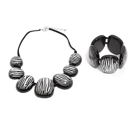 SIGAL STYLE Zebra-Design 2tlg. Set Collier Flex-Armband