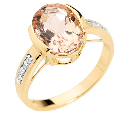 Morganit 3,25ct. Ovalschliff 8 Brillanten 0,05ct. Ring Gold 585