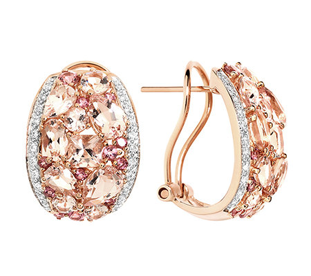 Morganit 3,65ct. Pink Turmalin 0,45ct. 44 Brillanten 0,13ct. Steckerclips Roségold 585