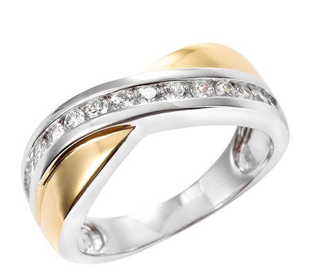 DIAMONIQUE® = 0,42ct Brillantschliff Croisé-Ring Silber bicolor