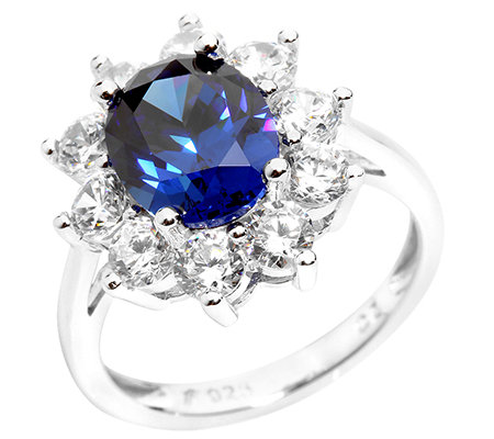 DIAMONIQUE® ROYAL BLUE 11 Steine =4,60ct. Entourage-Ring Silber 925,rhodiniert