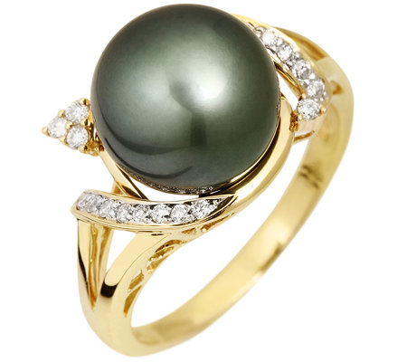 PERLFEKT Tahitiperle 10-10,9mm 20 Brillanten 0,15ct. Ring Gold 585