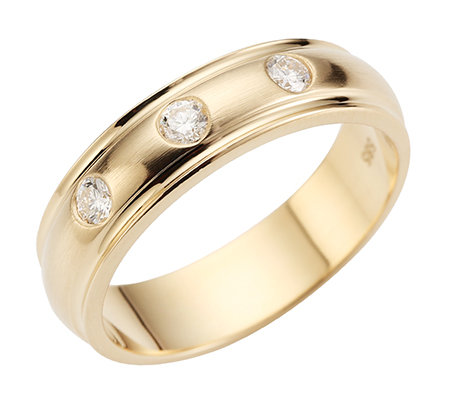 3 Brillanten zus.ca.0,15ct. Weiß/P1 Band-Ring Gold 585