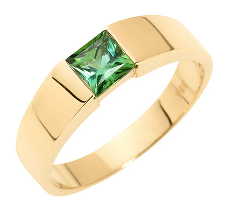 Turmalin 0,59ct Princessschliff Spann-Optik Ring Gold 585