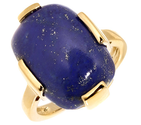 Golden Lapislazuli Kissenschliff Cabochon Solitär-Ring Gold 375