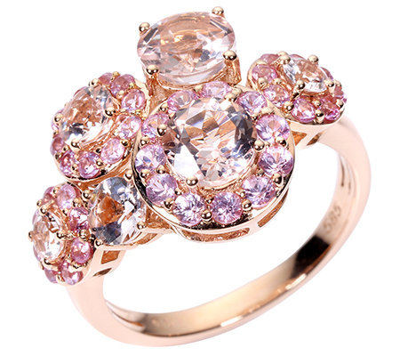 Morganit 1,75ct Rundschliff 37 Saphire 0,90ct. Cocktail-Ring Roségold 585