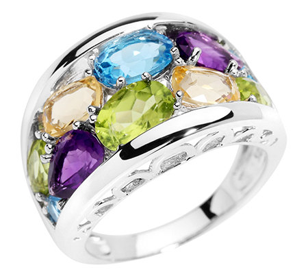 Multicolor Schliffmix 4,46ct. Cocktail-Ring Silber 925