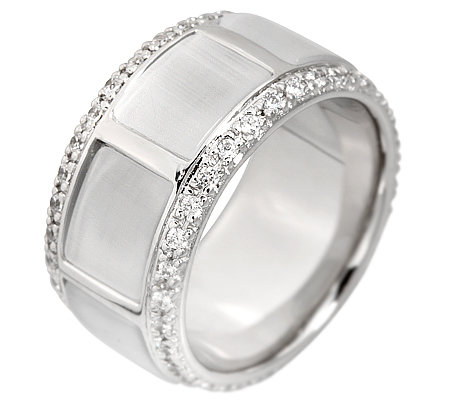 DIAMONIQUE by PRINCESS v. AUERSPERG Band-Ring 60 Steine=0,60ct. Silber 925,rhodiniert