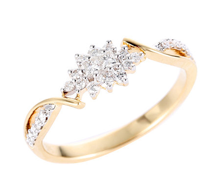 FIRST DIAMOND 22 Brillanten 2 Princess Diamanten zus.ca.0,25ct. Ring, Gold 375