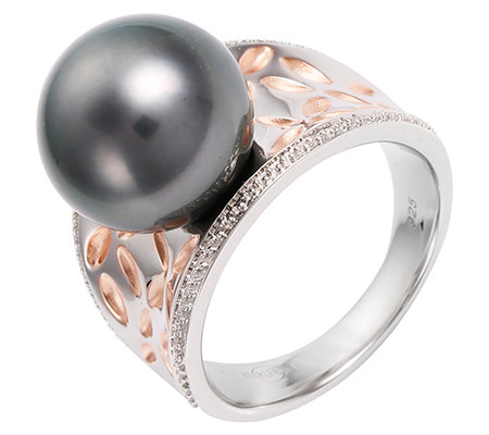 PERLFEKT Tahitiperle 12-12,9mm Cocktail-Ring Silber 925, bicolor
